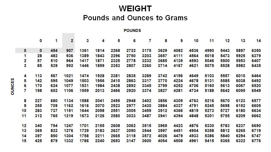 Wtg Newborn Weight Conversion Chart