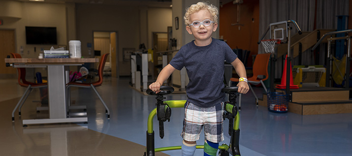 CHKD Patient with Walker in our Rehab Center