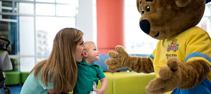 CHKD Patient Family Meets Healthy Bear