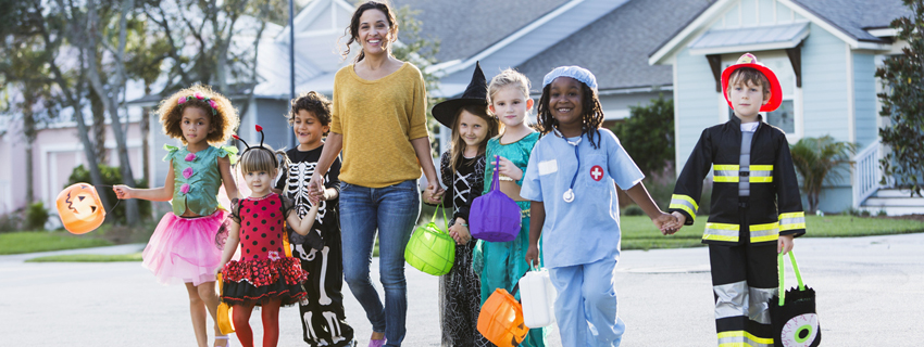 Group of children dressed up for Halloween