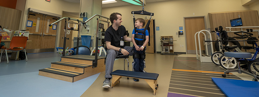 CHKD patient Lucas Guinn in our newly renovated rehab unit