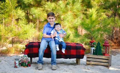 Holiday photo of Tristan and Damien