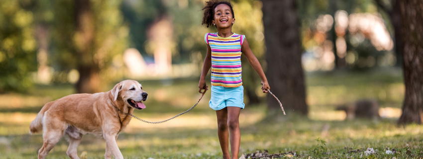 Young girl walking a dog in the park