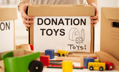 Toys and donation box